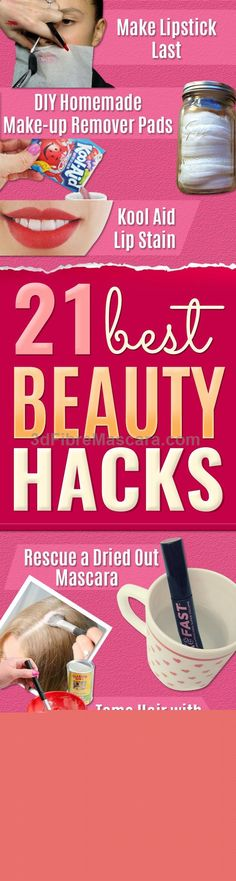 Best Beauty Hacks - Easy Makeup Tutorials and Makeup Ideas for Teens, Beginners, Women, Teenagers - Cool Tips and Tricks for Mascara, Lipstick, Foundation, Hair, Blush, Eyeshadow, Eyebrows and Eyes - Step by Step Tutorials and How To diyprojectsfortee...