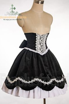 Classical Gothic Lolita High Waist Steel Boned Corset 2pcs Skirt Set