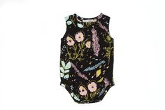 'Desert Floral' Sleeveless Onesie in Blue Mint, Yellow Ochre and Pink on Black