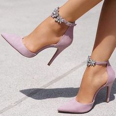 Pointed Toe Line-Style Schnalle Strass Stiletto Heel Damen Pumps . - Pointed Toe Line-Style Schnalle Strass Stiletto Heel Damen Pumps - Lace Up Heels, Pumps Heels, Stiletto Heels, Women's Stilettos, Prom Heels, Heeled Sandals, Lilac Heels, Purple Shoes, Shoes For Prom