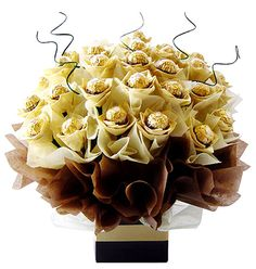 Sometimes you can say Thank You or I Love You with a bouquet like this one. How about a Ferrero Rocher Candy Bouquet instead of Flowers? All Chocolates are fresh when your order arrives. Ferrero Rocher Bouquet, Ferrero Rocher Chocolates, Diy Bouquet, Candy Bouquet, Flower Bouquets, Chocolate Art, Chocolate Gifts, Chocolate Truffles, Gift Baskets