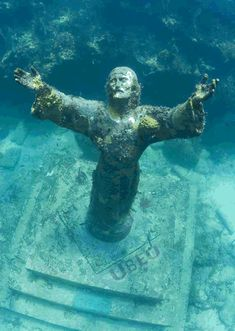 Christ of the Deep -  A unique and unusual dive site off the coast of Key Largo, Florida has been drawing attention and attracting thousands of Scuba divers and snorkelers alike for more than just its reef and marine life. In the midst of this dive site, a spectacular bronze sculpture of Jesus Christ stands 81/2 feet tall in 25 feet of water with a grandeur like no other. Christ's arms raised towards the surface in a pose offering peace.