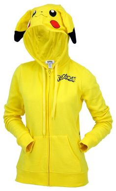 This is a licensed Nintendo Pikachu women's zip up costume hooded sweater with pikachu ears on the hood and a back print. Made of 60% Cotton / 40% Polyester.