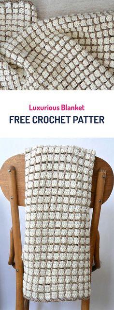 Luxurious Blanket Free Crochet Pattern #crochet #yarn #blanket #homedecor #homemade #handmade #crafts #diy