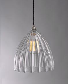 Ledbury Ribbed Glass Pendant Light. FritzFryer.co.uk.com