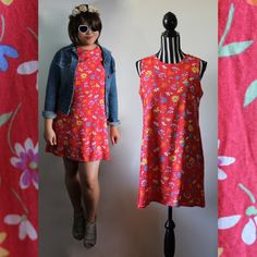 90s red floral shift dress // made in Australia // size M/L // free shipping in Australia
