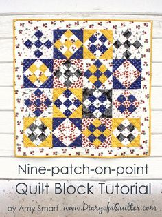 Simple quilt block tutorial - nine-patch on point with Mary Fons' Paris Small Wonders fabric