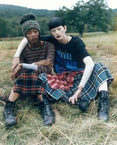 Naomi Campbell and Kristen McMenamy in a grunge inspired Steven Meisel editorial for Vogue, 1992.