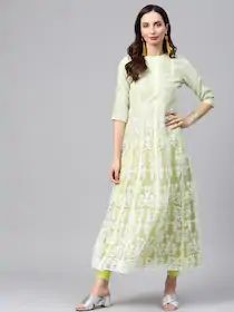 W Women Green Printed A-Line Kurta