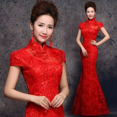 Red Fishtail Lace Qipao / Cheongsam Wedding Dress