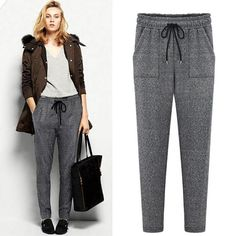 new winter stretch pants women casual harem trousers high quality elastic waist plus velvet thick warm pencil pants