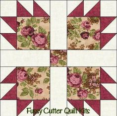 Scrappy Fabric Bear Paw Fast Easy To Make Pre-Cut Quilt 14 Inch Blocks Kit