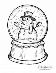 christmas snow globes coloring pages | Snow Globe Coloring Page | Christmas coloring pages ...