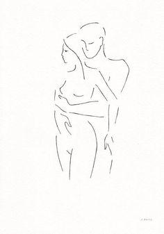 Dibujo original de la pareja. Boceto del arte de línea