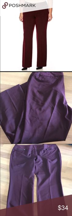 {Worrhington} Modern fit zipper pocket trousers NWOT. Size 24W. Modern fit trouser pants feature zippered front pockets for a bold look that works well with nearly any top. Features hook and bar closure; 2 front and 2 back pockets, sits below the waist, flat front, and a modern fit. Burgundy color with black going through the fabric - last photo is used with flash to get a good idea of actual color. (Second to last photo is also a good representation as some of my photos look purple). Inseam…