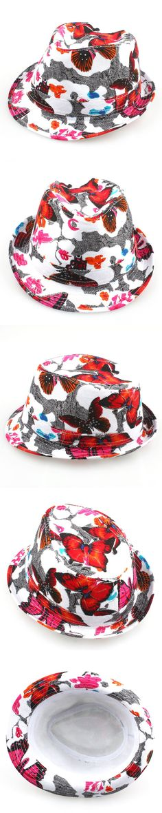 Fashion Butterfly Style Baby Hat Girls Floral Fedora Hat Kids Canvas Top Hat Girls Cowboy Hat Hair Accessories QRD010 $6.08