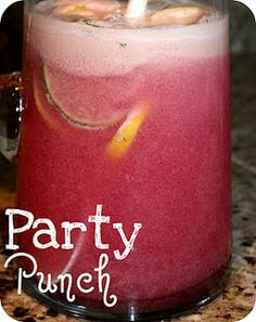 Perfect Party Punch this will defiantly be at future parties!! So Easy...2 liters of 7UP   2 tubs of rasberry sherbert (so just equal parts!)  lemons, oranges and grapefruit slices