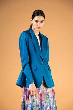 Turquoise blazer - V I K T O R I A V A R G A Turquoise Blazer, Shades Of Turquoise, Blazer Dress, Blazer Suit, Silk Dress, Ruffle Blouse, Business Wear, Budapest, That Look