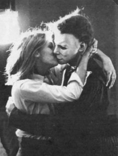 Jamie Lee Curtis (Laurie) and Nick Castle (The Shape …aka Michael Myers) sharing a light hearted moment on the set of 'Halloween' (1978)