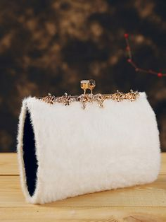 White Fur Chain Party Clutch Purse Bag - CozyLadyWear