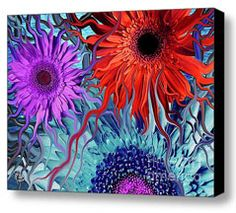 This is one of my more trippy Gerbera Daisy artworks.