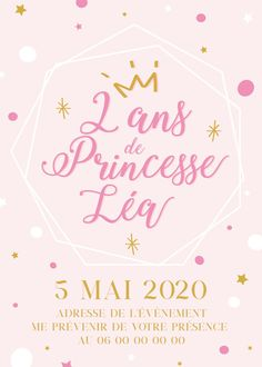 Invitation anniversaire princesse personnalisable !  Contactez moi par email ou sur www.j-b-design.fr   #invitation #anniversaire #birthday #enfant #princesse #fille #rose #marseille #france #paris #var #draguignan Marseille France, Envoyer Des Messages, Email, Invitation, Etsy, Design, Cardboard Paper, Handmade Gifts, Daughter
