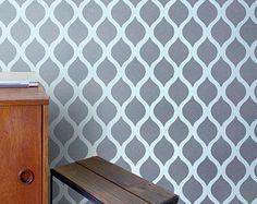 Mur marocain pochoir motif mur papier effet et peinture for Pochoir mural xxl