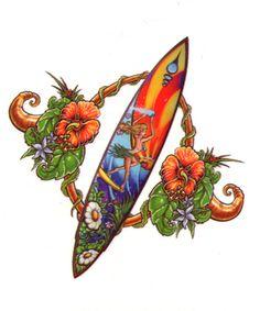 surf+tattoo | ... Tattoos And Fake Surfboard Hawaiian Surf Amp Sand Tattoo Design #12349