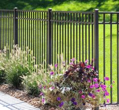 satin black three rail ornamental aluminum fence with picket. Made in Michigan exclusively for Fence Consultants of West Michigan. Garden Fence Panels, Fence Planters, Front Yard Fence, Fence Art, Garden Fencing, Low Fence, Easy Fence, Horse Fence, Front Yards