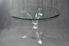 Round Glass Top Breakfast Dining Table with Vintage Acryllic Curved Three Leg Base Vintage Base from Miami, FL, Circa 1980 Also Available with