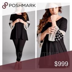 COMING SOON! (Plus) Polka dot sleeve tunic Coming soon! This item will be available in 1x-3x.   Estimated date of posting: 8/23   Current list price is not what this will be listed at. Please like this listing to be notified via price drop when it becomes available. Tops Tunics