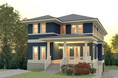 Contemporary Style House Plan - 5 Beds 3.5 Baths 3193 Sq/Ft Plan #926-4 Exterior - Front Elevation - Houseplans.com