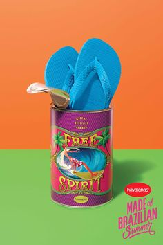 Havaianas Made of Brazilian Summer advertising campaign featuring posters, print ads, packaging with flip flops creatively presented with summer themes.