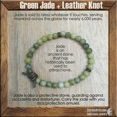 Jade is an ancient stone that has historically been used to attract love.  BLESSED: Jade + Leather Knot Yoga Mala Bracelet
