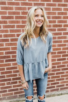 Little Italy Babydoll Top in French Denim | ROOLEE
