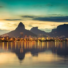 Rio de Janeiro Bay at Sunset with the city lights turning on.