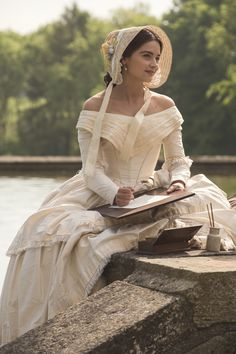 """Early Victorian Gown? Reminds me of Jane Eyre a bit, also of the """"young bride"""" in the film Quills, about the Marquis De Sade & his time in psychiatric hospital after the French Revolution."""
