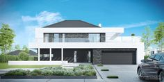 Find home projects from professionals for ideas & inspiration. Projekt domu HomeKONCEPT 37 by HomeKONCEPT Duplex House Plans, Modern House Plans, Modern Houses, Small Modern Home, Facade House, House Front, Bauhaus, Planer, Home Projects