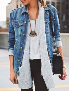 jean jackets: take a long cardigan to the next level