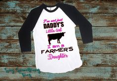 Farmer's Daughter Cow Raglan Shirt Daddy's by SaySomethingTees
