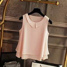 2018 Summer Top Women Chiffon Blouse Shirts Casual Tops Plus Size Female Loose Sleeveless Thin And Light Blusas Finas Chiffon Shirt, Chiffon Tops, Chiffon Blouses, Women's Blouses, Chiffon Fabric, Womens Sleeveless Tops, Sleeveless Shirt, Sexy Blouse, Blouse Dress