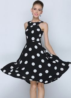 Polyester Polka Dot Sleeveless Above Knee Casual Dresses (1012336) @ floryday.com