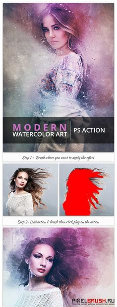 Modern Watercolor Art - PS Action - 17467503