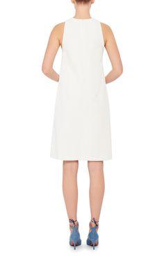 Crochet Leaves Embellished Sleeveless Jersey Dress by VIKA GAZINSKAYA Now Available on Moda Operandi