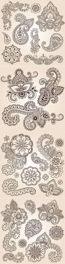 New Drawing Ideas Zentangle Henna Ideas Henna Patterns, Zentangle Patterns, Embroidery Patterns, Design Patterns, Design Ideas, Paisley Design, Paisley Pattern, Mandala Art, Coloring Books
