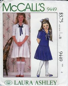 Vintage Designer Laura Ashley McCall's Sewing Pattern Girls Nautical Dress with Sailor Collar, Dropped Waist, Pleated Skirt, Size 8 Chest Uncut Factory Folds, by RosesPatternsEtc on Etsy Laura Ashley Patterns, Laura Ashley Girls, Childrens Sewing Patterns, Vintage Sewing Patterns, Nautical Dress, Nautical Clothing, Navy Clothing, Vintage Clothing, Vintage Girls