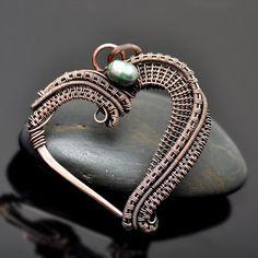 Wire Wrap Copper Heart Pendant - Nicole Hanna Jewelry