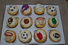 Sports themed cupcakes Sports Day, Themed Cupcakes, Desserts, Food, Photography, Meal, Deserts, Essen, Hoods