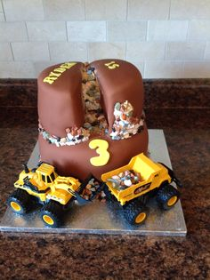 Construction Birthday Cake - Dump Truck and Excavator.