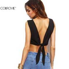V Back Self Tie Crop Top New Summer Solid Round Neck Sleeveless